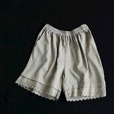 蕾絲寬管寬鬆顯瘦五分休閒短褲-K1638-設計所在