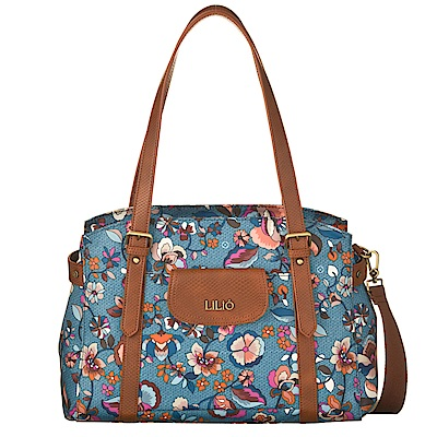 旅行肩背手提袋-英倫風印花經典系列-天空藍 - LiliO