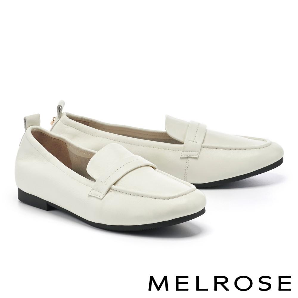 低跟鞋 MELROSE 經典復刻純色全真皮樂福低跟鞋-白