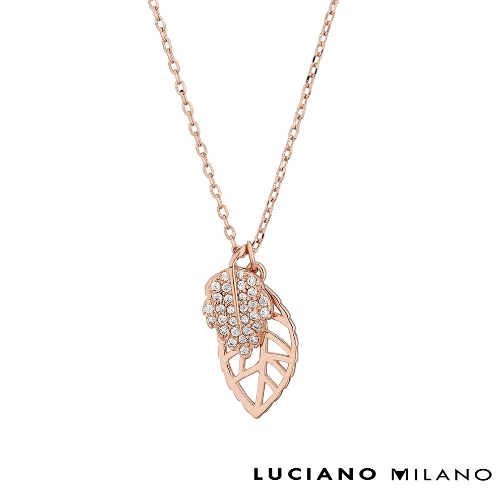 LUCIANO MILANO 鏤空葉片純銀項鍊(玫瑰金色)