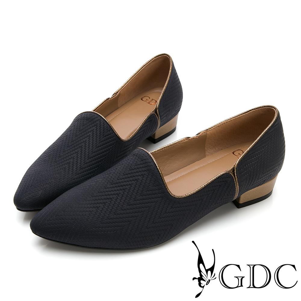 GDC-真皮時尚金邊素雅尖頭低跟鞋-藍色