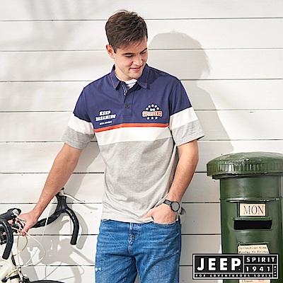 JEEP 品牌經典刺繡拼接短袖POLO衫-灰色
