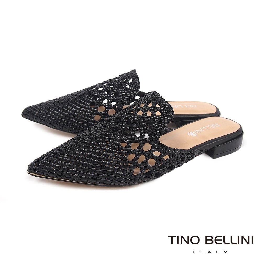 Tino Bellini渡假氛圍編織鏤空穆勒鞋_黑