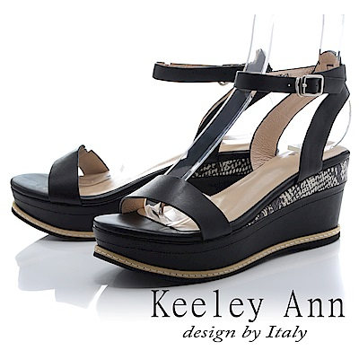 Keeley Ann 韓式風潮~拼接壓紋金屬飾釦全真皮厚底涼鞋(黑色-Ann)