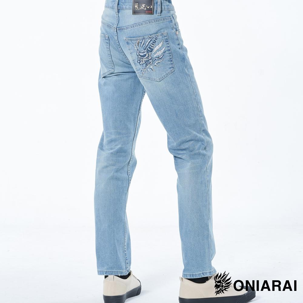 鬼洗 BLUE WAY – 側鬼頭三色繡線彈性中腰直筒褲(淺藍)