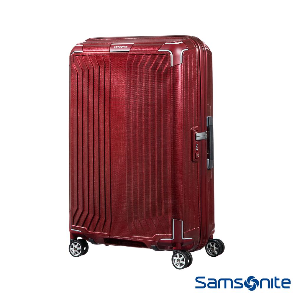Samsonite新秀麗 28吋Lite-Box耐衝擊Curv垂直線條登機箱 深紅