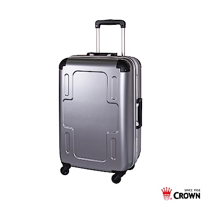 CROWN 皇冠 24吋 十字鋁框箱 行李箱 旅行箱 銀色