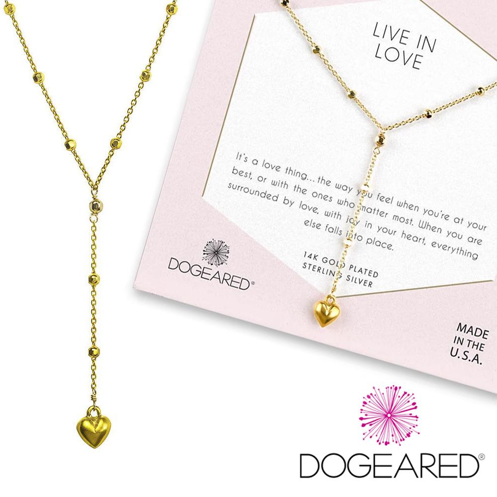 Dogeared LOVE 邱比特愛心項鍊 Y字鍊 閃亮金色豆豆項鍊