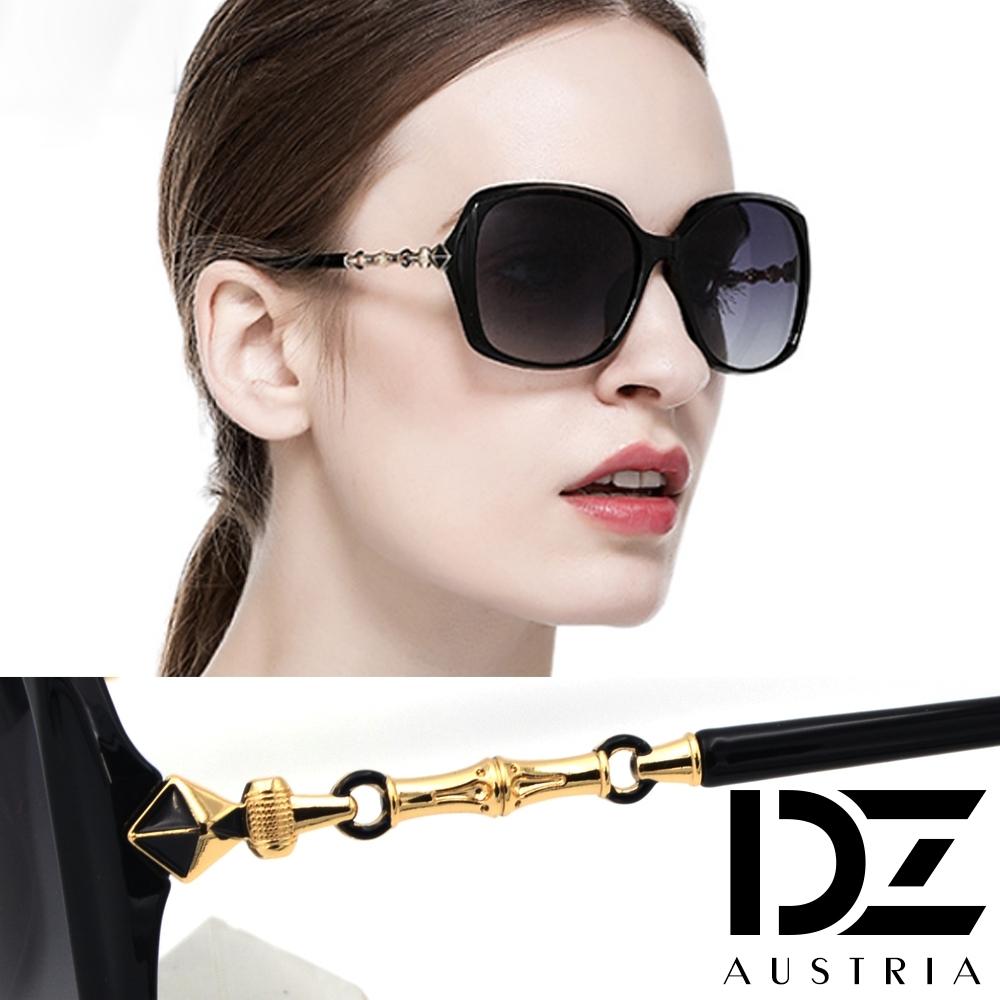 DZ 菱柱鏈結大框 防曬偏光 太陽眼鏡墨鏡(黑框漸層灰片)
