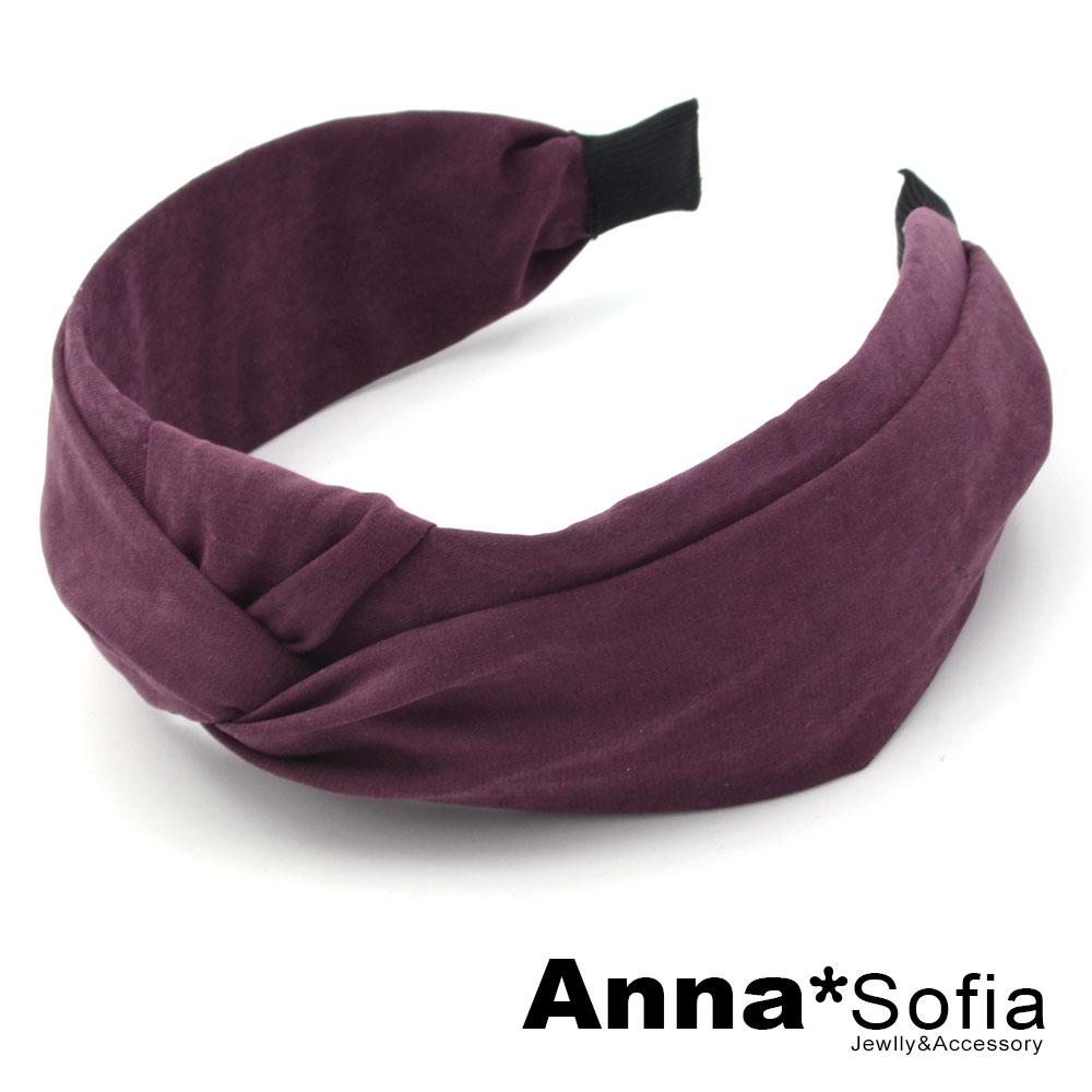 【2件7折】AnnaSofia 單色絨面璇結 韓式寬髮箍(黯酒紅色)