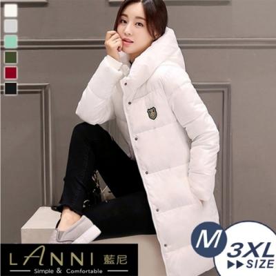 【LANNI 藍尼】韓版連帽中長版羽絨棉外套(長版外套)●