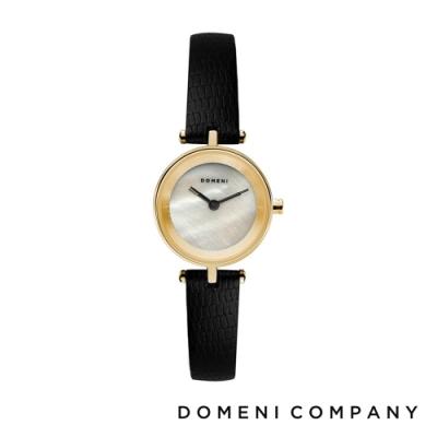 DOMENI COMPANY 經典迷你白珍珠錶盤系列 義大利小牛皮錶帶 金錶框 -白/22mm