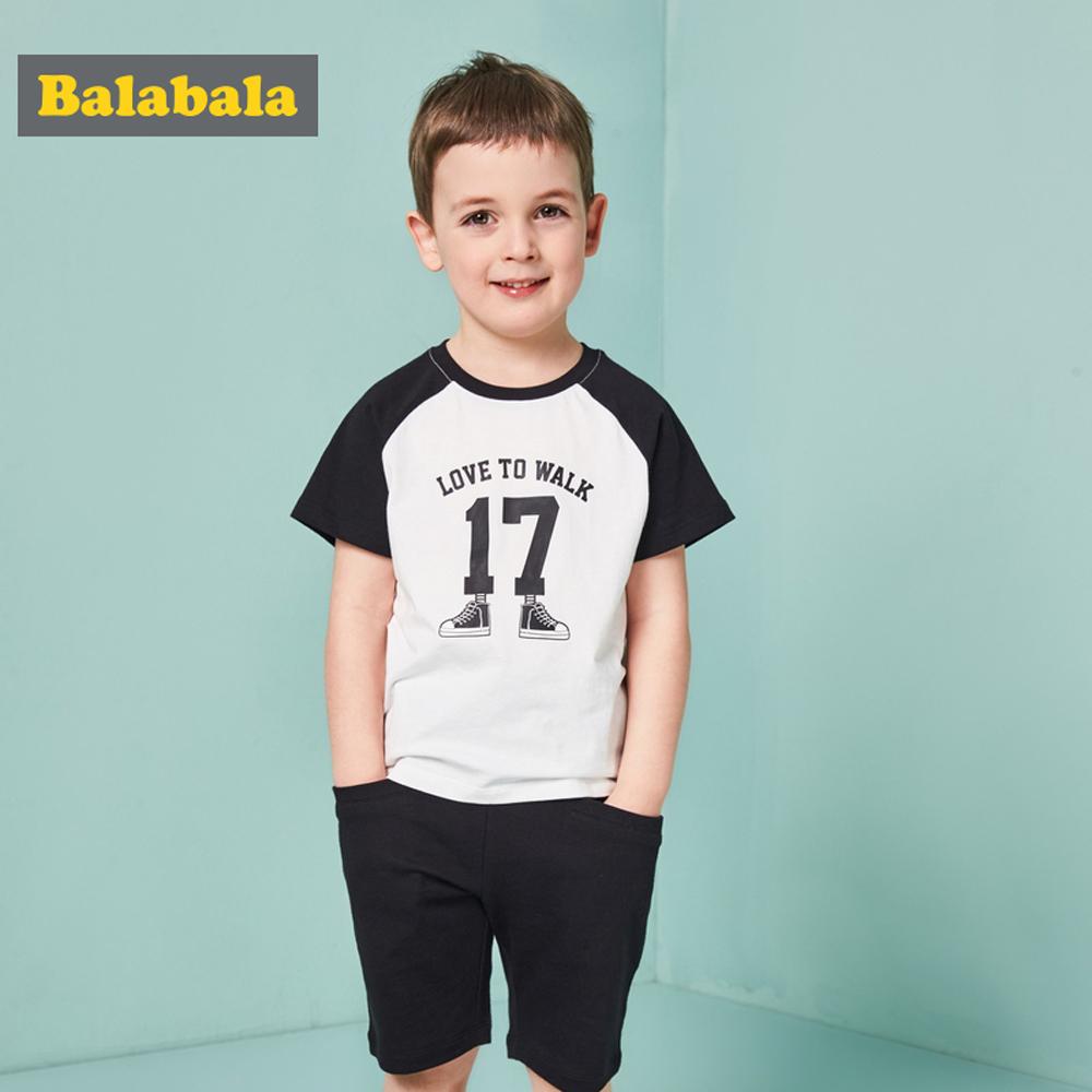 Balabala巴拉巴拉-俏皮小腳走路印花運動套裝-男(3色)