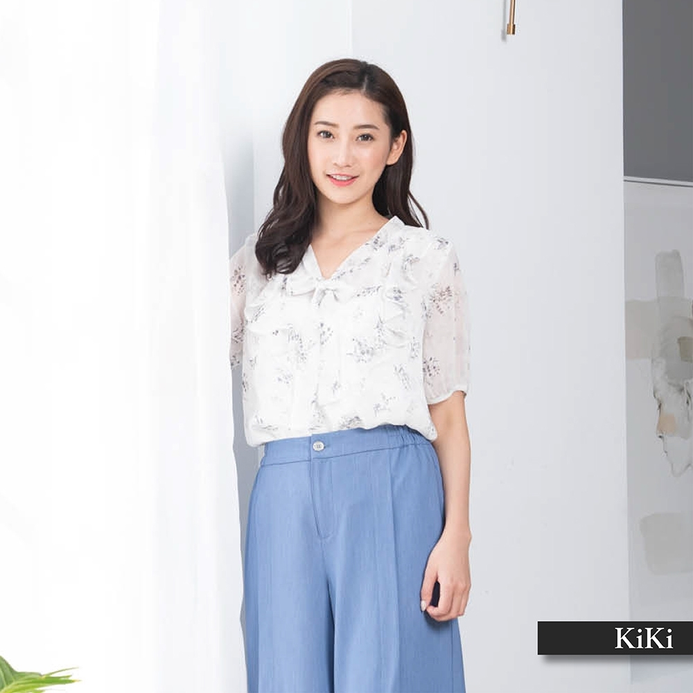 【KiKi】優雅印花綁結-襯衫(二色/版型適中)
