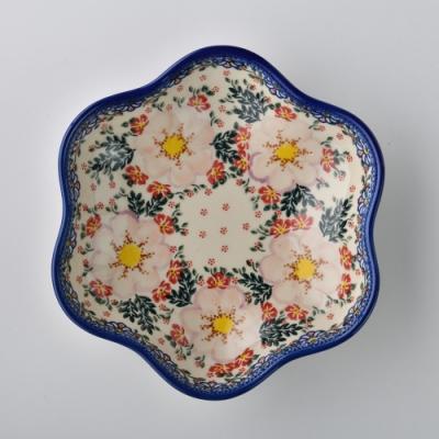 波蘭陶 映雪紅梅系列 花型盤 大 24cm 波蘭手工製