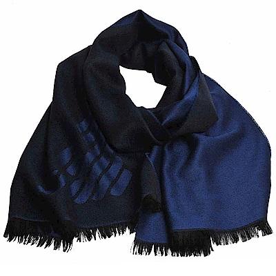 EMPORIO ARMANI 義大利製老鷹圖騰LOGO雙面配色造型圍巾(寶藍/黑)
