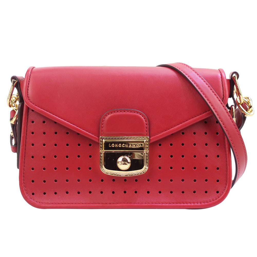 Longchamp MADEMOISELLE 系列打孔斜背包-S/石榴紅