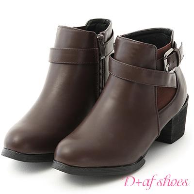 D+AF 潮流穿搭.鬆緊帶拼接釦帶粗跟短靴*咖