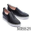 休閒鞋 MISS 21 質感純色編織造型全真皮內增高休閒鞋-黑