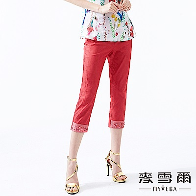 【麥雪爾】棉質紅鑽飾反褶褲管八分褲