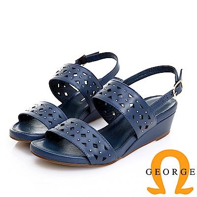GEORGE 喬治皮鞋 幾何沖孔鉚釘真皮寬帶涼鞋 -藍色