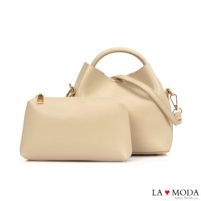 La Moda 實用百搭多背法大容量肩背手提子母包(杏)