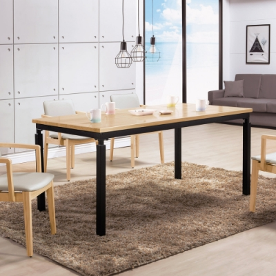 Boden-諾威爾6尺工業風實木餐桌/會議桌/工作桌(松木色)