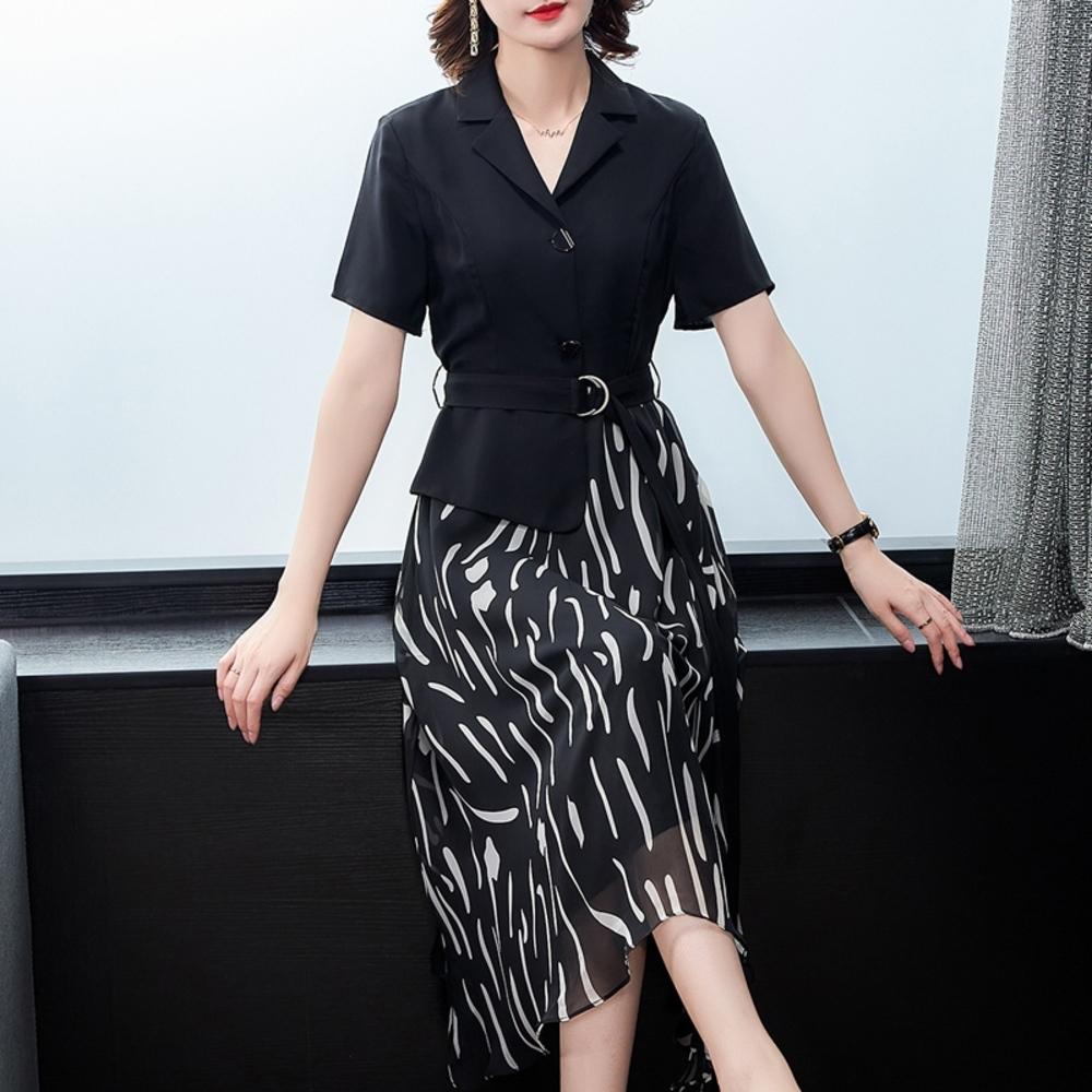 靚雅西裝領時尚腰帶氣質印花洋裝M-4XL-REKO @ Y!購物