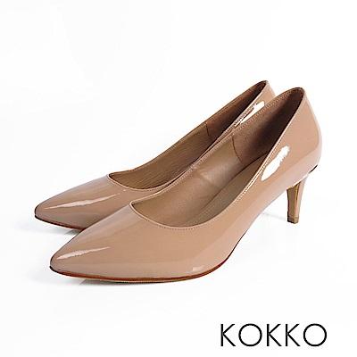 KOKKO - 風華再現素面尖頭高跟鞋-溫柔裸膚