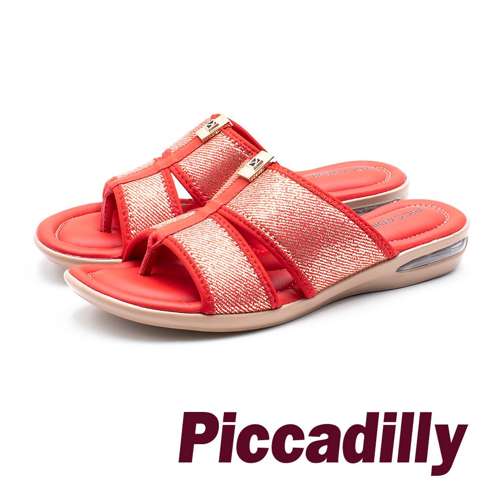 Piccadilly 彈力氣墊 雙寬帶夾腳女拖鞋 -紅(另有黑)