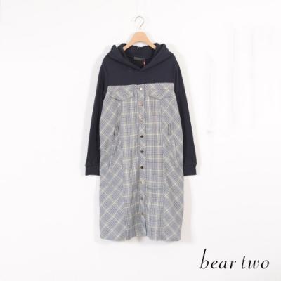 beartwo-假兩件式格紋連帽洋裝-灰