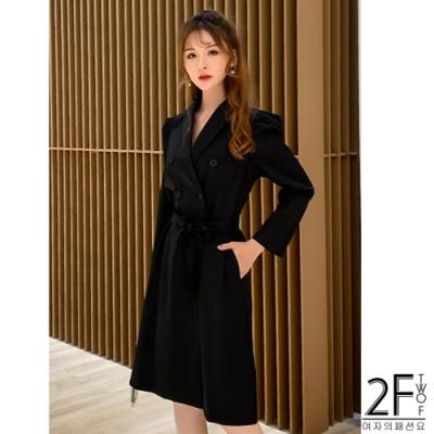 2F韓衣-翻領排扣素色風衣-2色(S-XL)