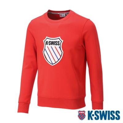 K-SWISS Court Sweaters圓領長袖上衣-女-紅