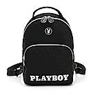 PLAYBOY- 後背包可手提/斜背  黑白風尚系列 -黑色