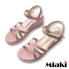 Miaki-楔型鞋百搭韓風細帶涼鞋-粉