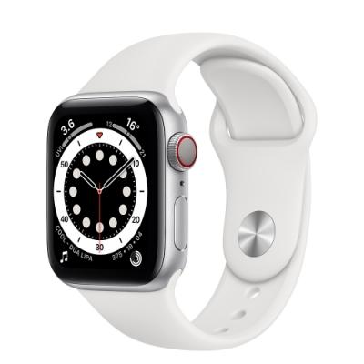 Apple Watch Series 6 (GPS+行動網路) 40mm 銀色鋁金屬錶殼+白色錶帶(M06M3TA/A)
