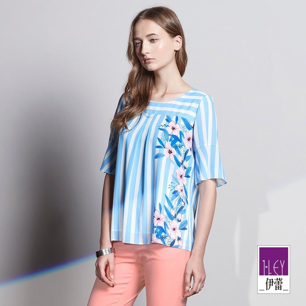 ILEY伊蕾 甜美條紋印花雪紡上衣(藍)