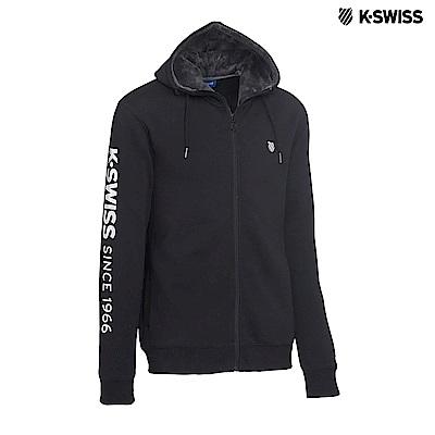 K-Swiss KS 1966 JKT刷毛連帽外套-男-黑