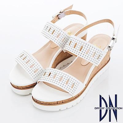 DN 簡約韓風 鉚釘簍空真皮一字楔型涼鞋-白