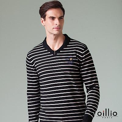 oillio歐洲貴族 長袖小V領款毛衣 100%純羊毛衣料 黑色