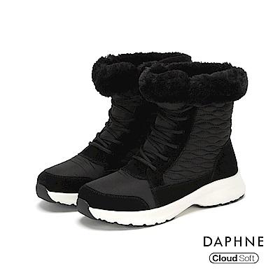 達芙妮DAPHNE 短靴-異材質撞色拼接翻毛內裡短靴-黑