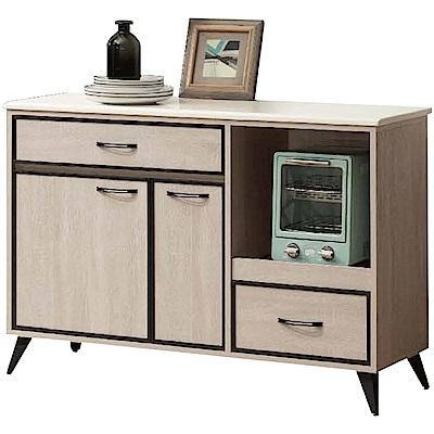 綠活居 迪奧時尚4尺雲紋石面餐櫃/收納櫃-121x42x82cm免組