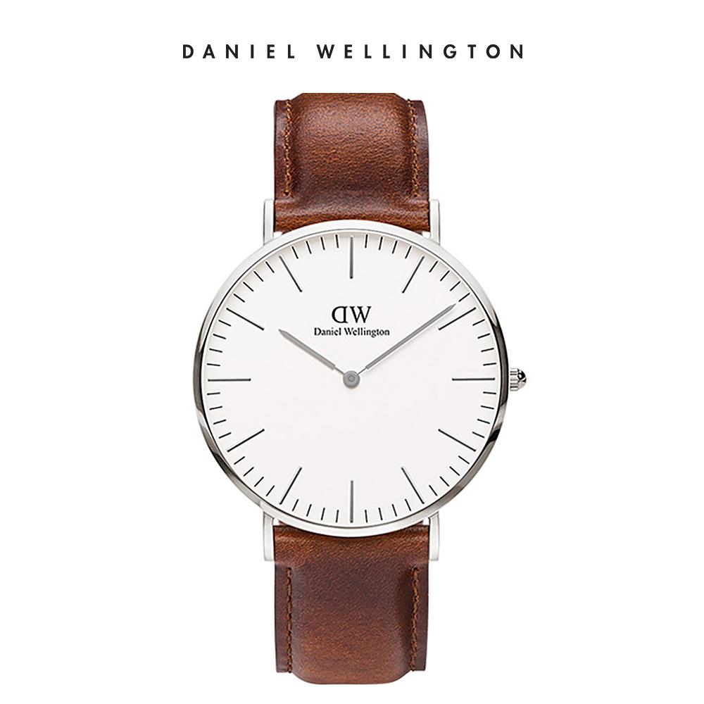 DW 手錶 官方旗艦店 40mm銀框 Classic 棕色真皮皮革錶