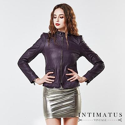 INTIMATUS 真皮 歐美風復古墊肩水洗小羊皮皮衣 紫羅蘭