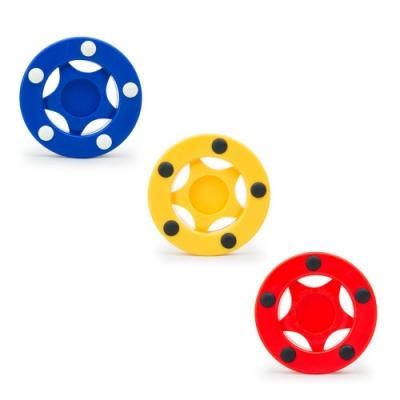 DLD多輪多 直排輪曲棍球餅 紅、黃、藍 三入一組