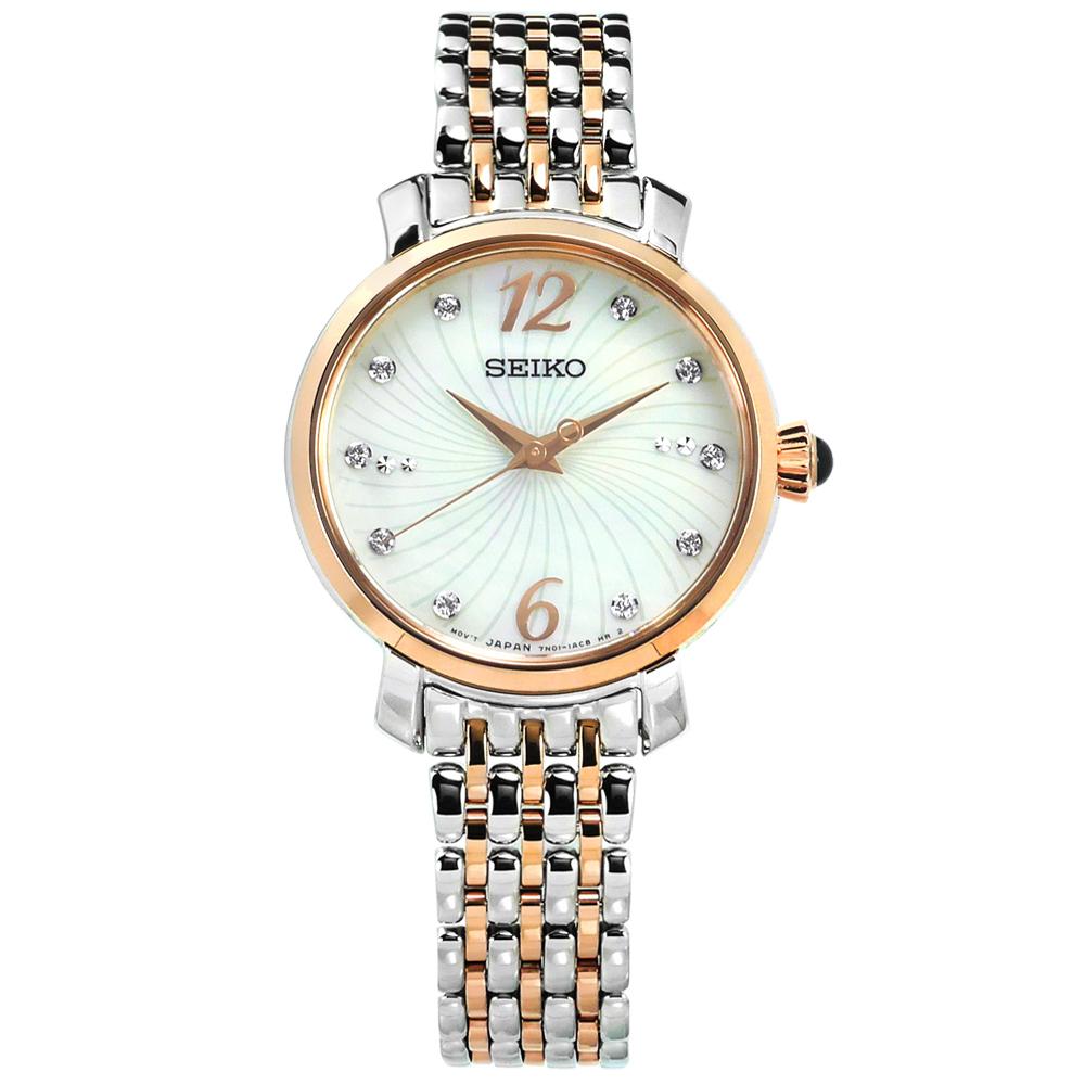 SEIKO 精工 珍珠母貝施華洛世奇晶鑽不鏽鋼手錶-銀x鍍玫瑰金/28mm @ Y!購物