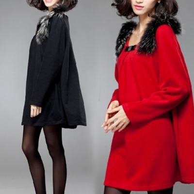 【韓國K.W.】名媛貴氣絨毛肩飾毛呢寬鬆素面洋裝(兩色可選)