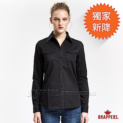 BRAPPERS 女款 雙口袋長袖襯衫-黑