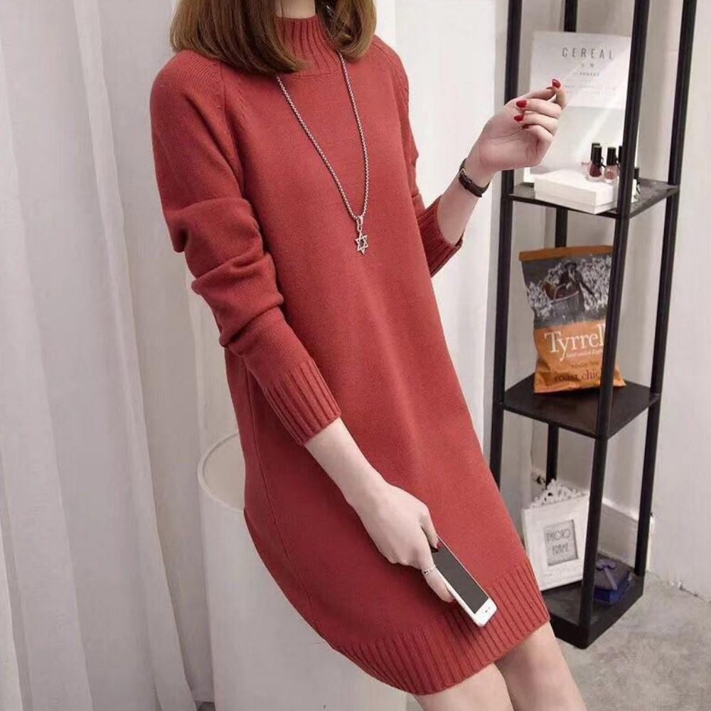 出清La Belleza半立領羅紋領袖口羅紋素色針織洋裝