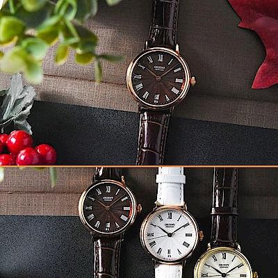 ORIENT 東方錶 ELEGANT 羅馬假期復古機械女錶-咖啡x玫瑰金色框/37.5mm
